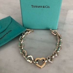 Tiffany & Co 18K gold heart & sterling silver brac